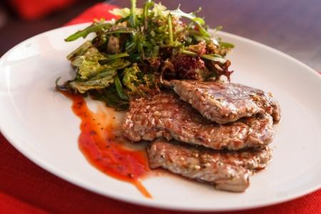 steak with salad photo