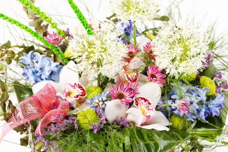 beautiful flowers in the basket photo