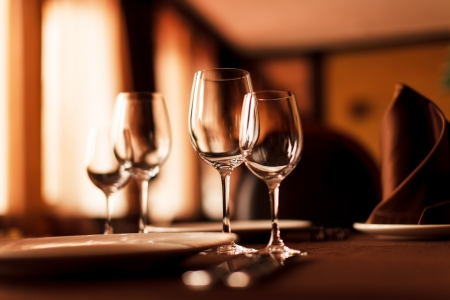 restaurant interior: Tables set for meal Stock Photo