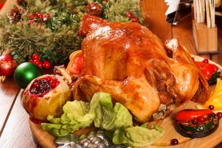Garnished roasted turkey photo