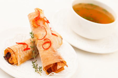 soup with stuffed fillo rolls