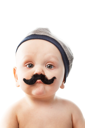 cute baby with moustaches Stock Photo