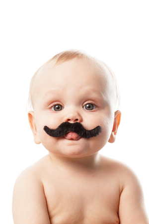 funny face: cute baby with moustaches Stock Photo