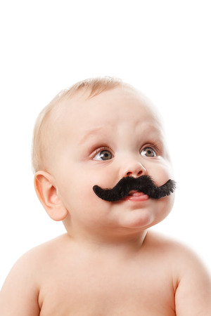 cute baby with moustaches photo