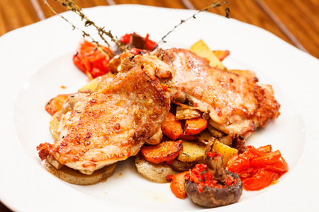chicken with vegetables and beer photo