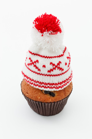 winter cap on muffin photo
