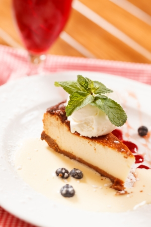 cheesecake with ice cream photo