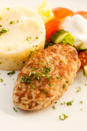 cutlet with mashed potatoes photo