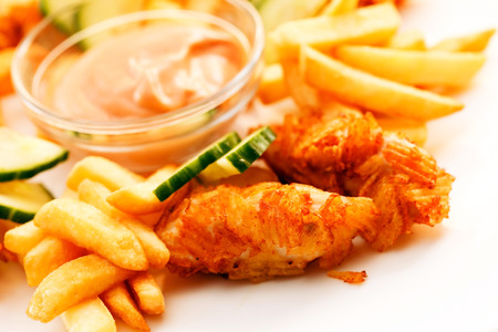 French fries with chicken photo