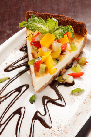cheesecake with fruits photo