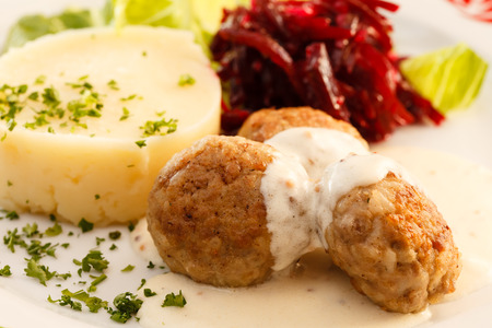 meatballs with mashed potatoes photo