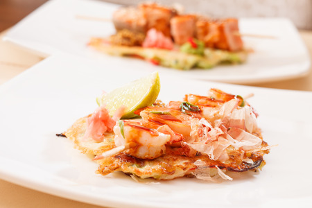 kebab with shrimps photo