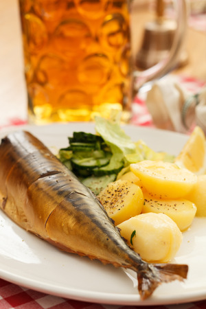 mackerel with potatoes and beer photo