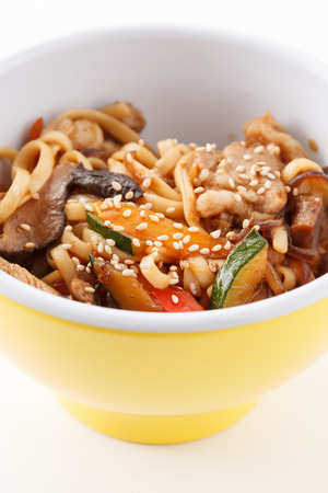 noodle with meat and vegetables photo