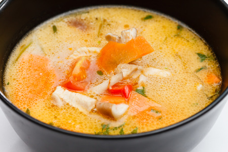 sour grass: Soup made from Coco Milk and Vegetables Stock Photo