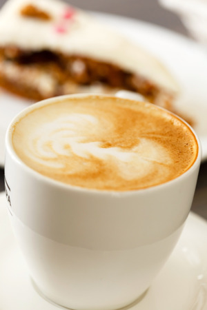 cappuccino with carrot cake photo