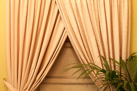 nearness: gold curtains Stock Photo