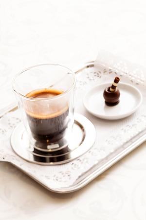 espresso with chocolate sweet photo