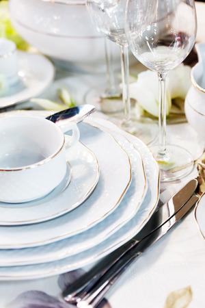 テーブルの上の食器 写真素材