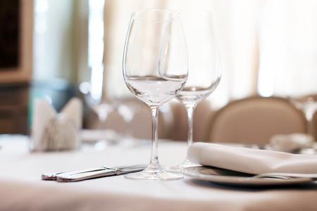 wedding table setting: restaurant interior