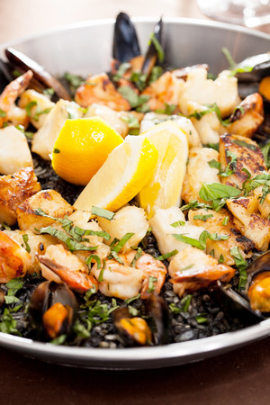 marisco: seafood paella in the fry pan Stock Photo