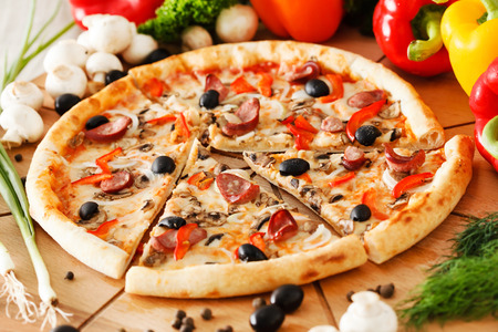 pizza slice: Supreme Pizza Stock Photo