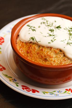roasted potatoes with sour cream 版權商用圖片