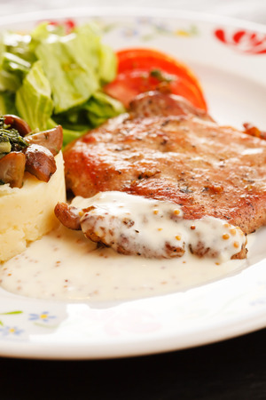 meat with salad photo