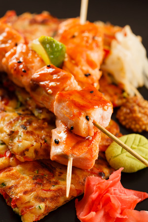 Japanese Skewered salmon with Vegetables photo