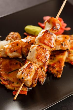 bbq chicken: grilled chicken skewers Stock Photo