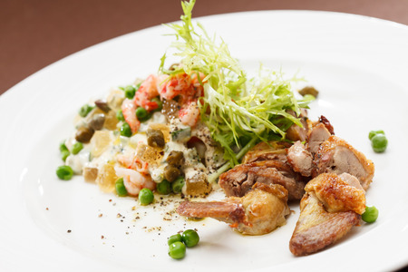 russian salad: Russian salad with quail Stock Photo
