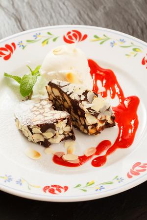 chocolate dessert with ice cream photo