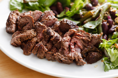 dinner plate: beef with salad