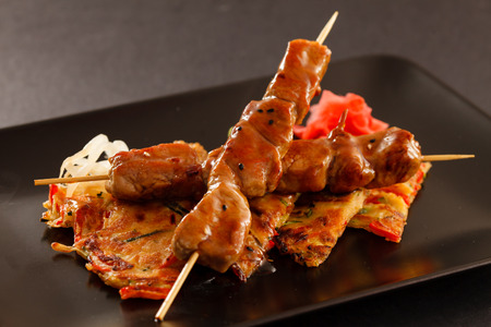 grilled beef skewers photo