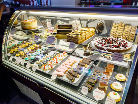 pastries on display a confectionery shop