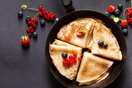 pancake: pancakes with berries Stock Photo