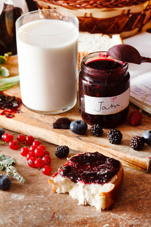 Berries jam on the table photo