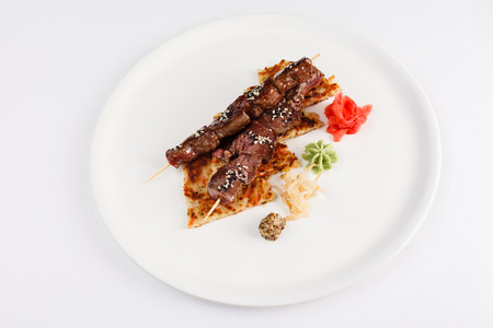 beef on skewers photo