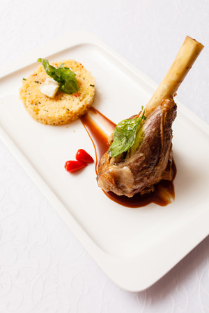 Veal chop with rice photo
