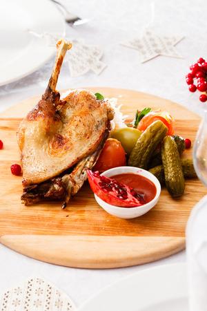christmas goose: goose on Christmas table
