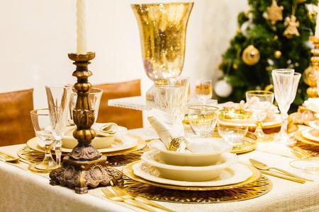 candle light table setting: Christmas table