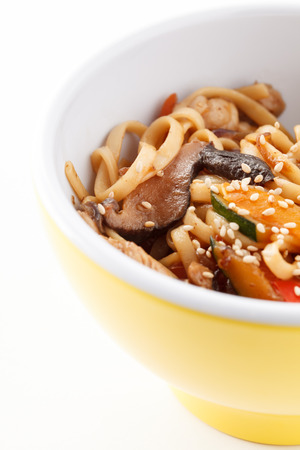 mee pok: noodle with meat and vegetables Stock Photo