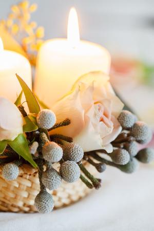 nice flowers and candle Reklamní fotografie