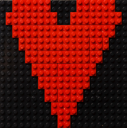 plastic bricks: Heart of red plastic bricks