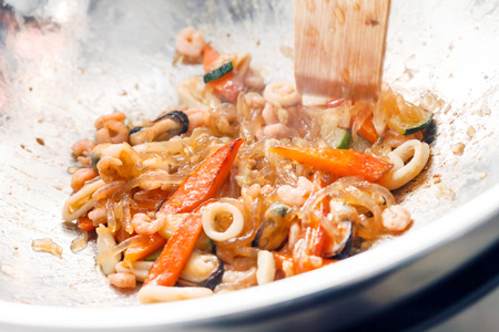 mee pok: seafood noodles Stock Photo