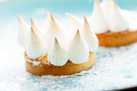 recipe decorated: lemon cake with meringue Stock Photo