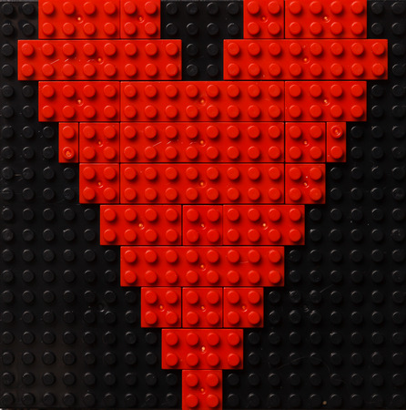 plastic heart: Heart of red plastic bricks