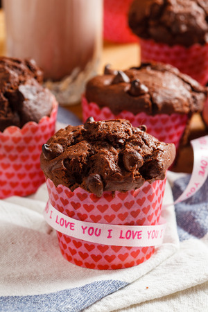 heart very: chocolate muffins Stock Photo