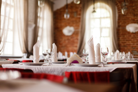 receptions: tables set for meal Stock Photo