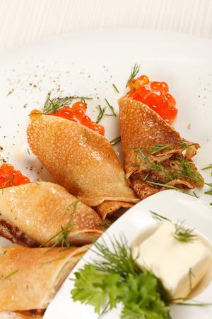 caviar: pancakes with caviar